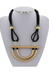 Black and Gold Cord Necklace and Earring Set
