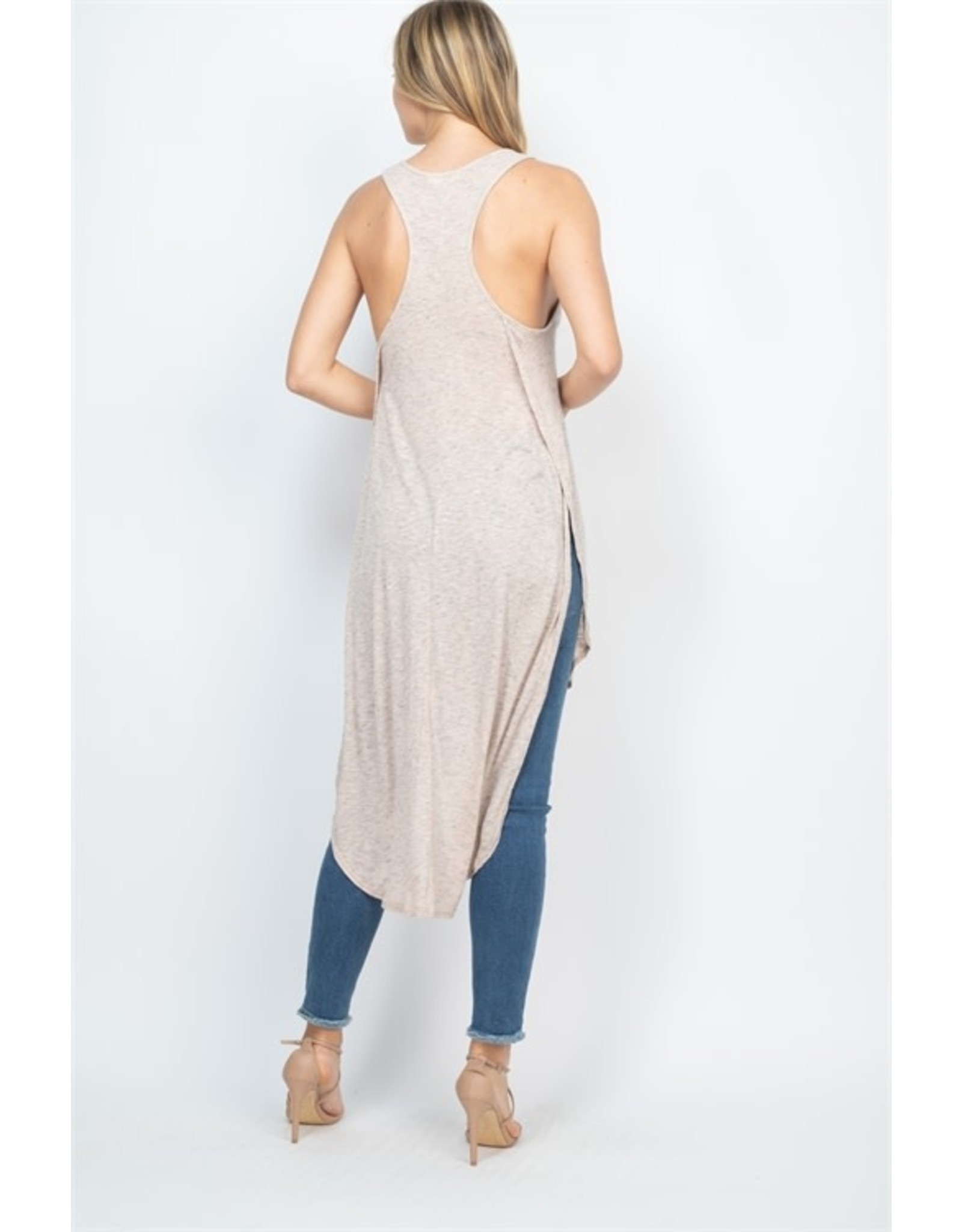 Rounded Hem High-Low Racerback Tunic Top