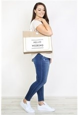 Hello Weekend Straw Tote