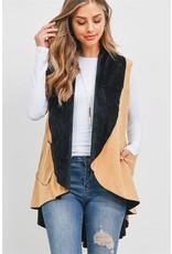 Two-Tone Kimono Vest with Pockets