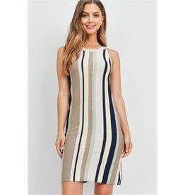 Sleeveless scoop neck multi-color stripes straight dress