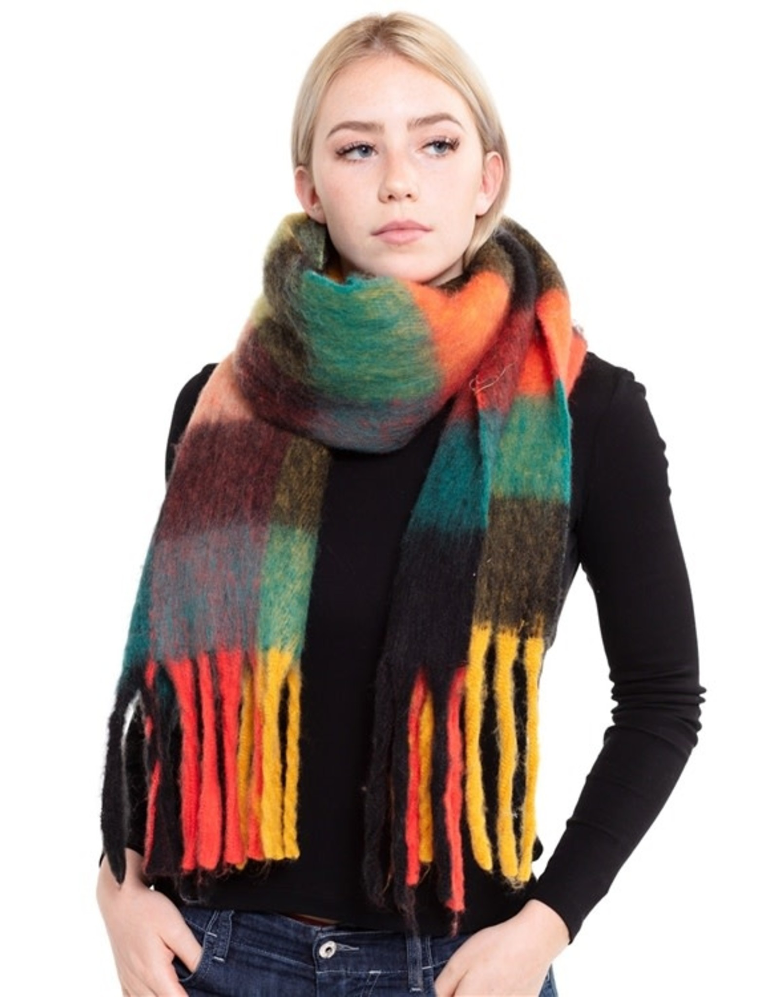 Plaid Color Block Scarf with Fringe