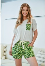 Two-Tone Top and Leopard Shorts Set