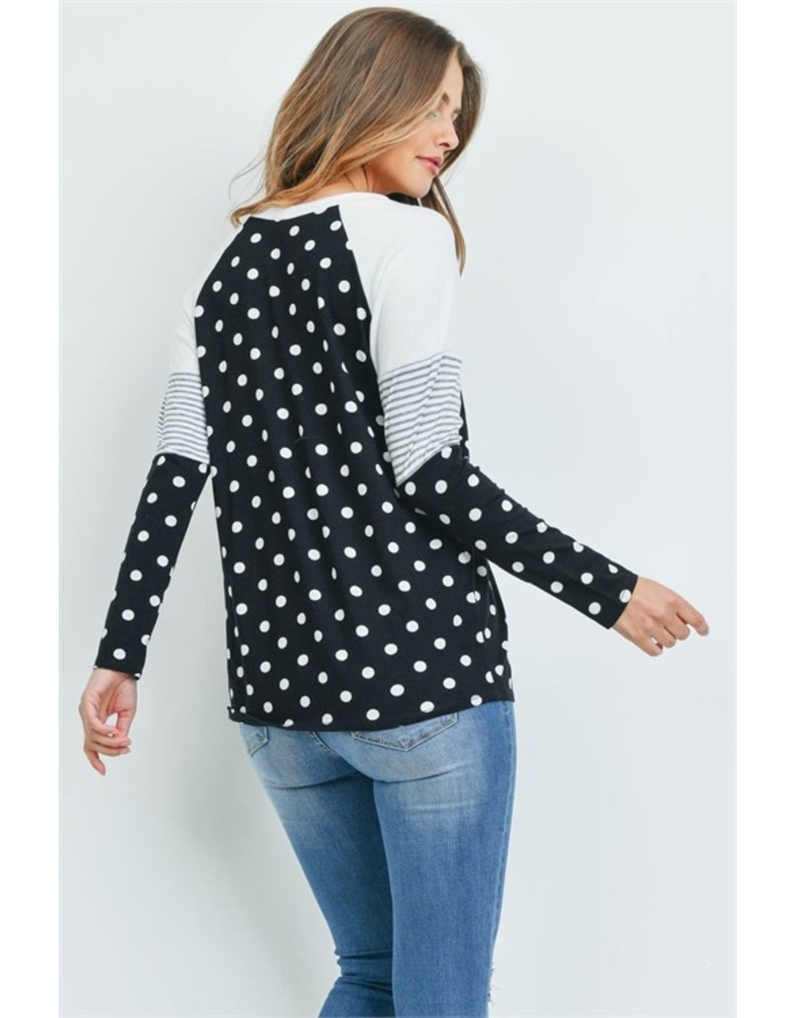 Mixed Print Black and Ivory Long Sleeve Top