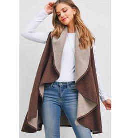 Reversible Two-Tone Shawl Vest