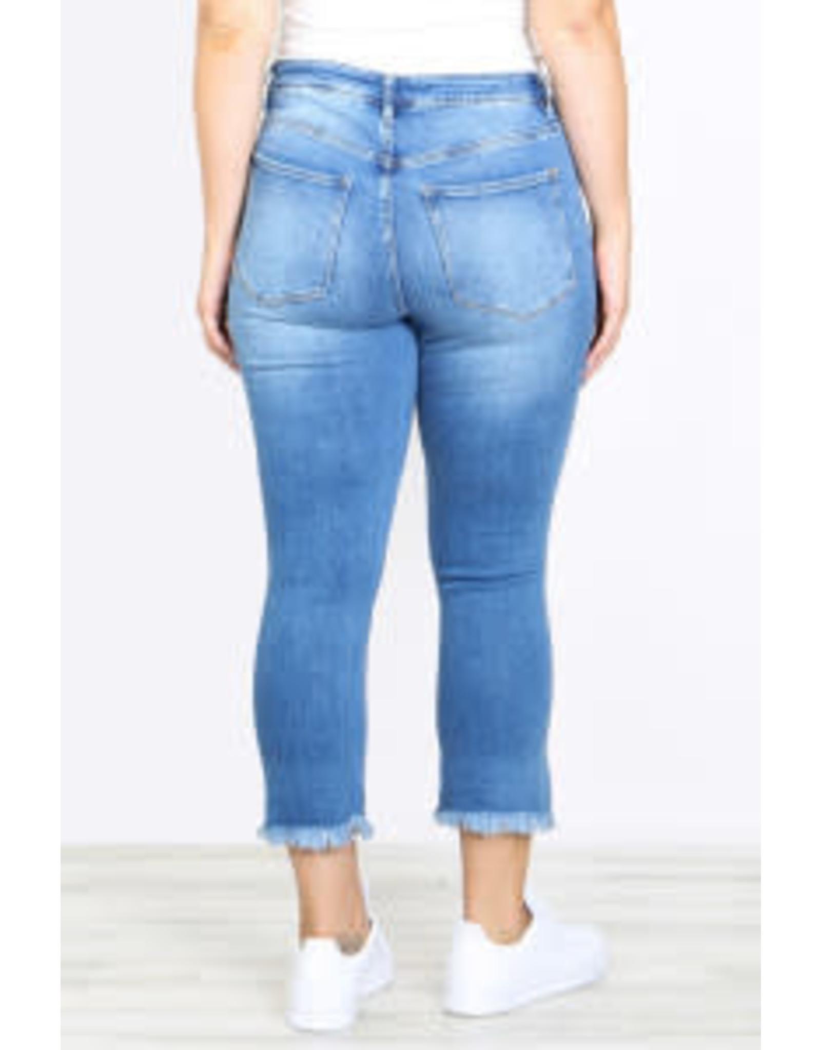 Slim Fit Distressed Raw Hem Cropped Denim Jeans