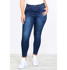 Slim Fit Dark Blue Cropped Denim Jeans