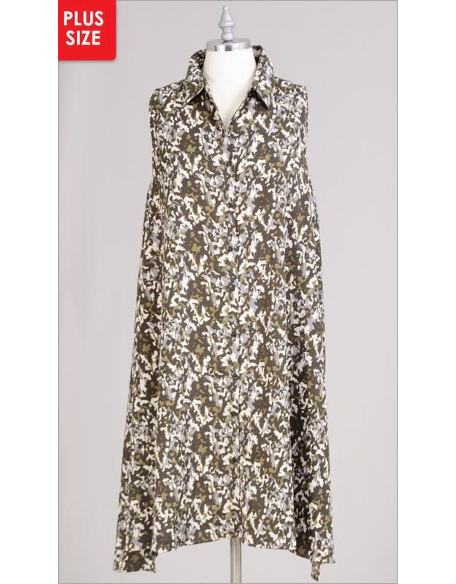 Mlle Gabrielle Button down sleeveless camouflage dress