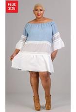 Vasna Colorblock Lace Trim Guaze Dress