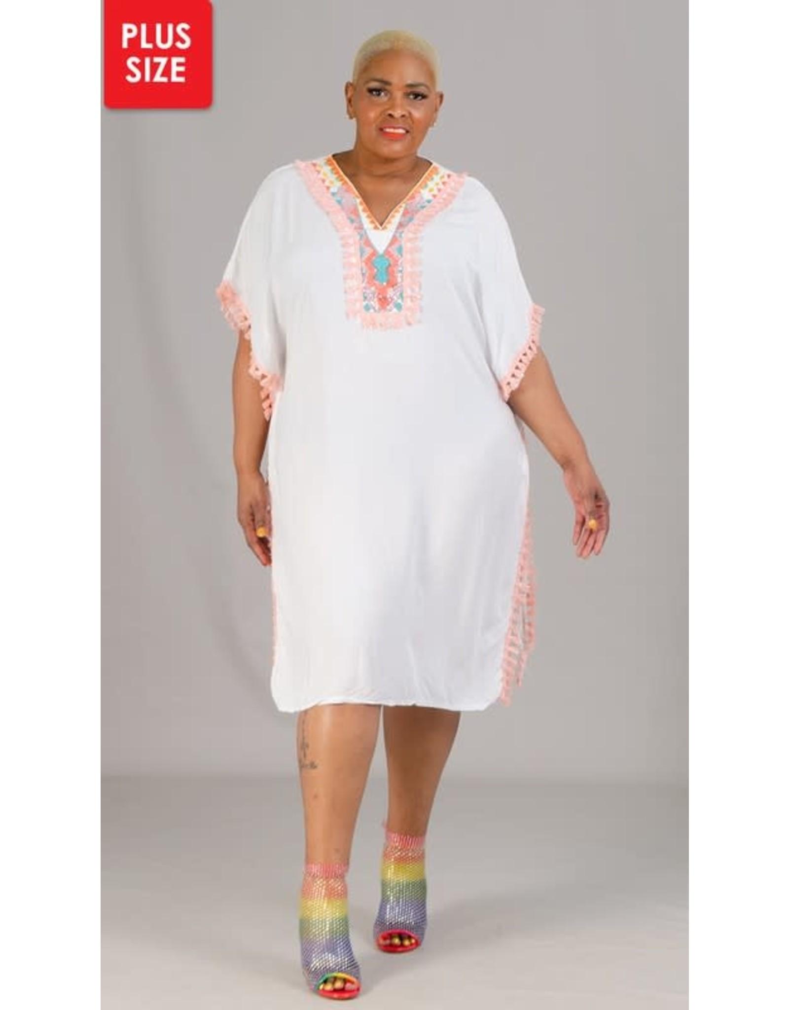 Omango Fringe Tassel Trim Kaftan Tunic Dress - One Size