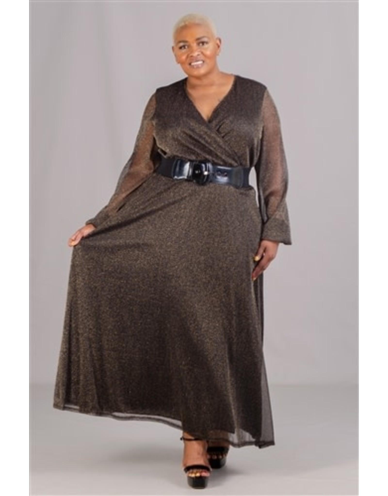 Karen T Black and Gold Sheer Shimmer Maxi Dress