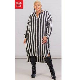 Dubgee Striped Belted Button Up Shirt Dress