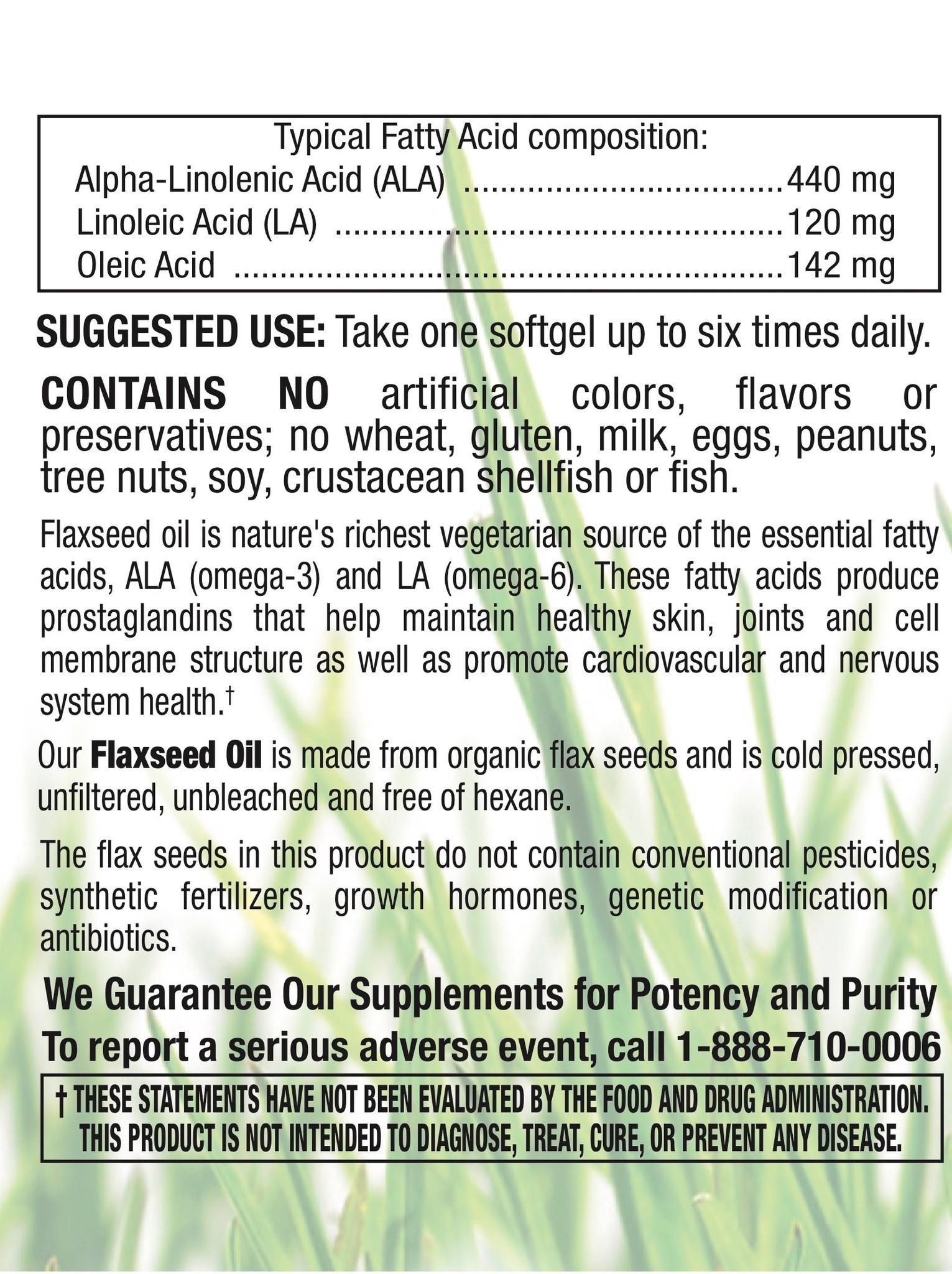 Organic Flaxseed Oil 1,000mg-3