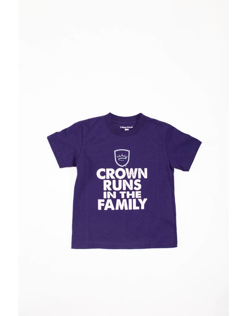 College Kids Crown Runs in the Family Kids T-Shirt