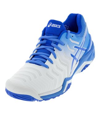 Asics Gel-Resolution 7 (White/Blue) Women's Tennis Shoe