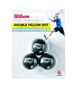 Wilson Staff Double Yellow Dot Squash Ball (3-Pack)