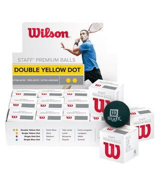 Wilson Staff Double Yellow Dot Squash Ball, case of 12