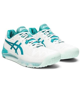 Asics Resolution 8  White/ Lagoon Womens