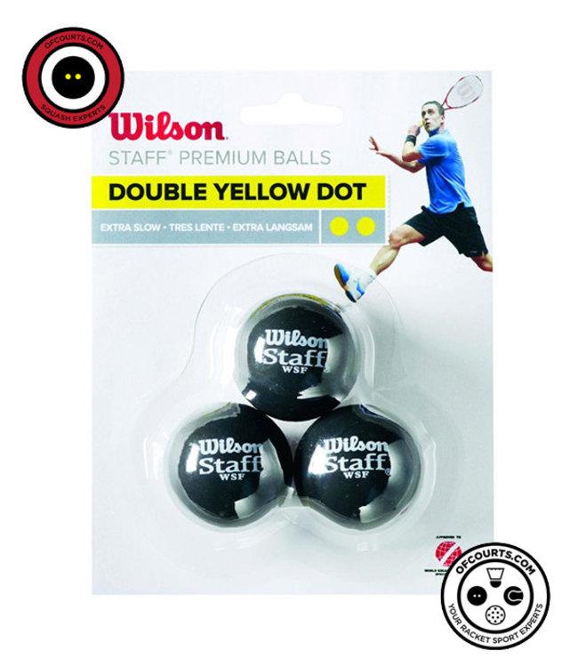 Wilson Staff Double Yellow Dot Squash Ball (3-Pack)