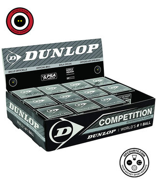 Dunlop Competition Single Yellow Dot Squash Ball (Box of 12)