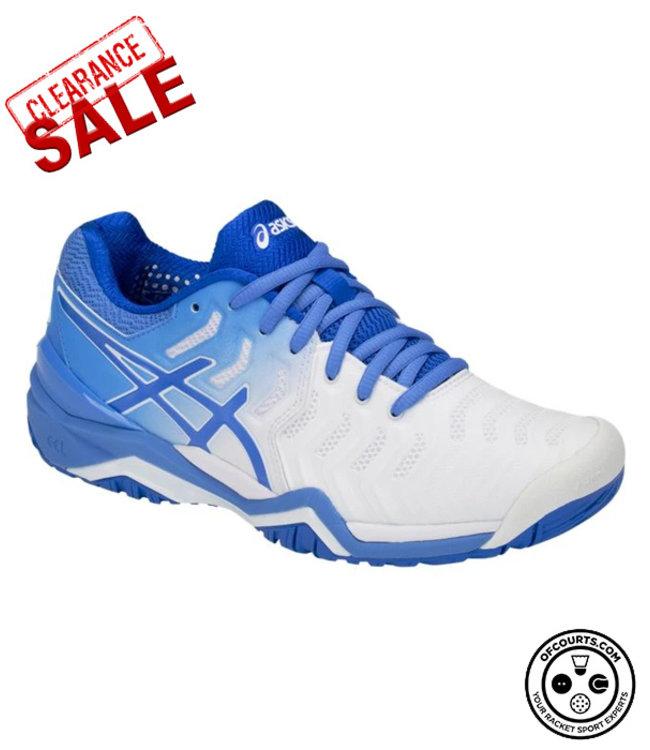 Asics Gel-Resolution 7 (White/Blue) Women's Tennis Shoe
