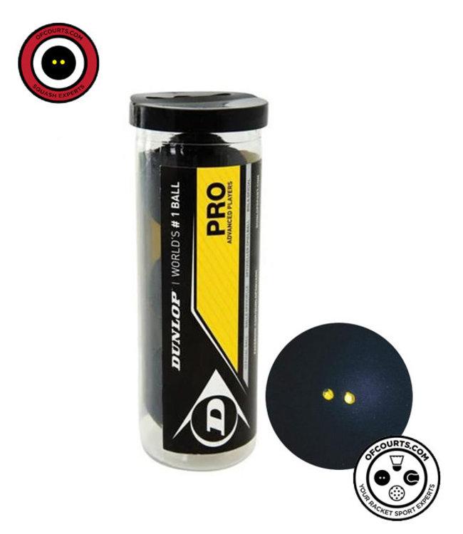 Dunlop Pro Double Yellow Squash Ball 3 Tube