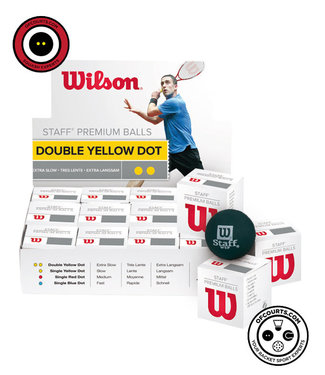 Wilson Staff Double Yellow Dot Squash Ball, case of 12