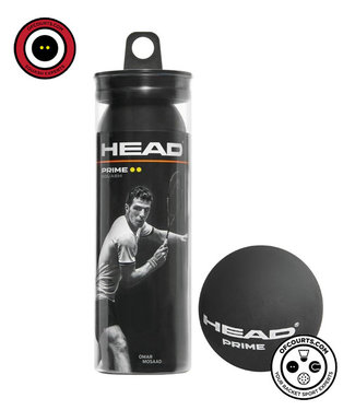 Head Prime Squash Ball Double Yellow 3-pack