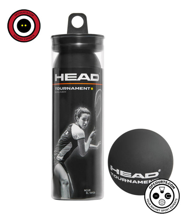 Head Tournament Single Yellow Squash Ball 3-Tube
