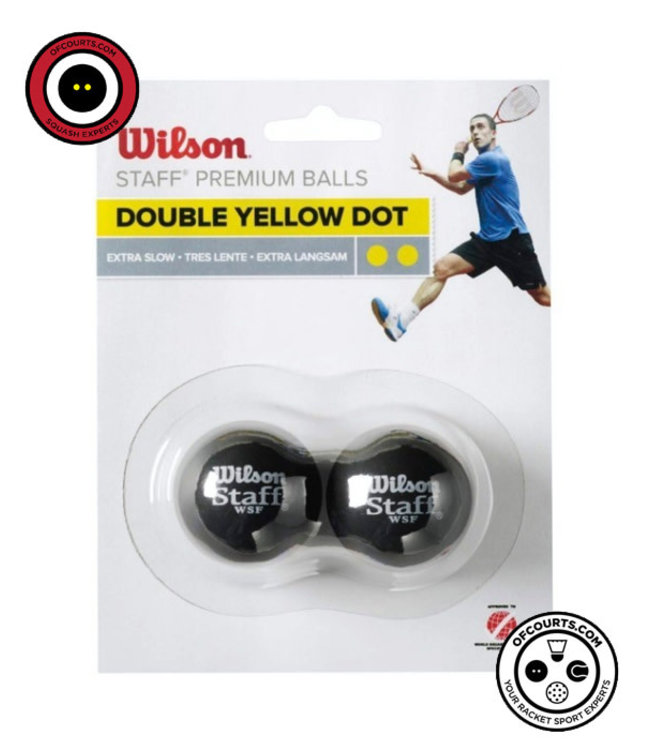 Wilson Staff Double Yellow Dot Squash Ball (2 pack)