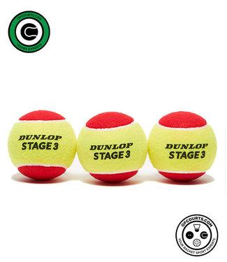 Dunlop Stage 3 Red Tennis Balls - 3 Pack