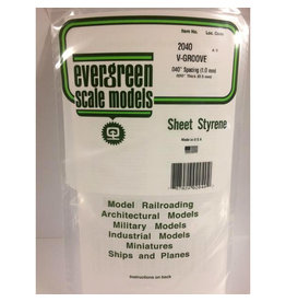 """EVERGREEN POLYSTYRENE OPAQUE WHITE V-GROOVE SIDING .020 THICK X .040 GROOVE SPACING  6"""" x 12"""" SHEET"""