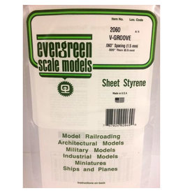 """EVERGREEN POLYSTYRENE OPAQUE WHITE V-GROOVE SIDING .020 THICK X .060 GROOVE SPACING  6"""" x 12"""" SHEET"""