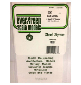 "EVERGREEN POLYSTYRENE OPAQUE WHITE O SCALE FREIGHT CAR SIDING .020 THICK X .067 GROOVE SPACING  6"" x 12"" SHEET"