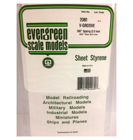 """EVERGREEN POLYSTYRENE OPAQUE WHITE V-GROOVE SIDING .020 THICK X .080 GROOVE SPACING  6"""" x 12"""" SHEET"""
