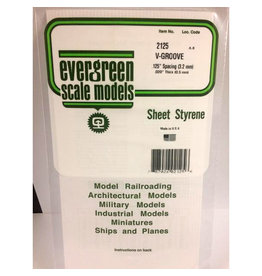 """EVERGREEN POLYSTYRENE OPAQUE WHITE V-GROOVE SIDING .020 THICK X .125 GROOVE SPACING 6"""" x 12"""" SHEET"""