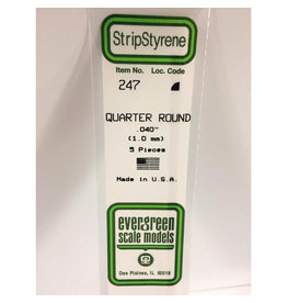 "EVERGREEN POLYSTYRENE OPAQUE WHITE QUARTER ROUND .040 x 14"" PKG/5"