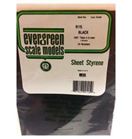 EVERGREEN BLACK STYRENE SHEET 8'' X 21'' X .040'' PKG/3