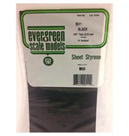 EVERGREEN BLACK STYRENE SHEET 6'' X 12'' X .010'' PKG/4