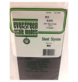 EVERGREEN BLACK STYRENE SHEET 6'' X 12'' X .040'' PKG/2