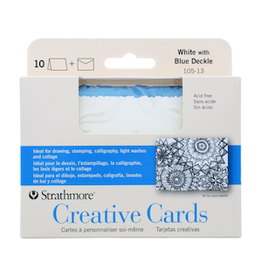 STRATHMORE ANNOUNCEMENT CARDS WHITE/ BLUE DECKLE