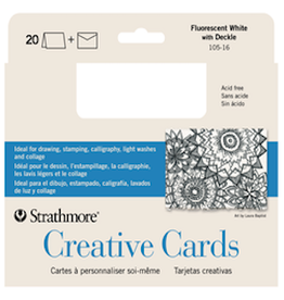 STRATHMORE CREATIVE CARDS FLOURESCENT WHITE/ DECKLE 20-PACK