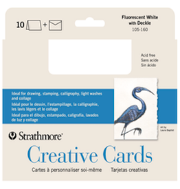 STRATHMORE CREATIVE CARDS FLOURESCENT WHITE/ DECKLE 10-PACK