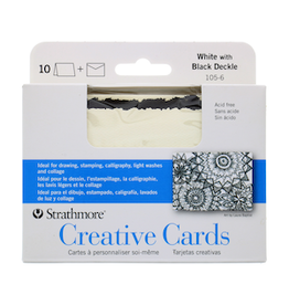 STRATHMORE ANNOUNCEMENT CARDS WHITE/ BLACK DECKLE