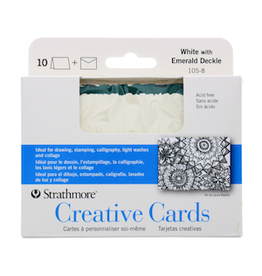 STRATHMORE ANNOUNCEMENT CARDS WHITE/ EMERALD DECKLE