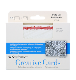 STRATHMORE ANNOUNCEMENT CARDS WHITE/ RED DECKLE