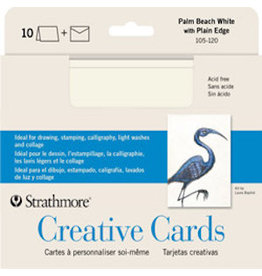 STRATHMORE ANNOUNCEMENT CARDS PALM BEACH WHITE PLAIN EDGE
