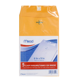 MEAD CLASP ENVELOPES 6X9 5PK
