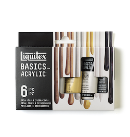 LIQUITEX BASICS ACRYLIC METALLIC & IRIDESCENT SET 6X22ml