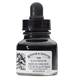 WINSOR & NEWTON DRAWING INK 30ml BLACK DROPPER CAP